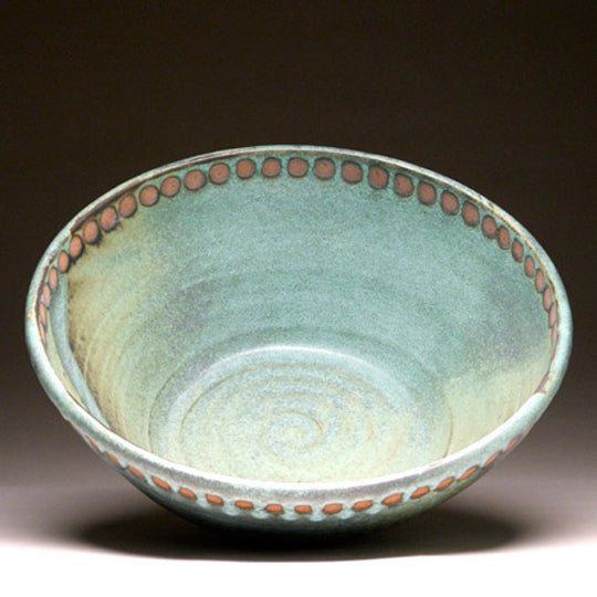 Medium Serving Bowl in Green Matte with Dot Glaze
