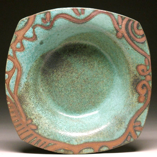Pasta Bowl in Green with Fancy Pattern Glaze