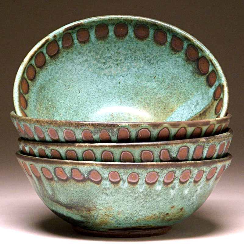 Soup Bowl in Green Dot Glaze