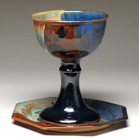 Chalice and Paten in Multi Glaze