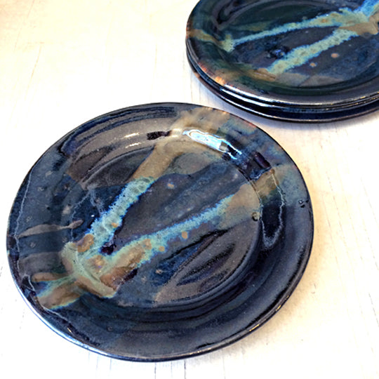 Cocktail Plate in Black and Teal Glaze