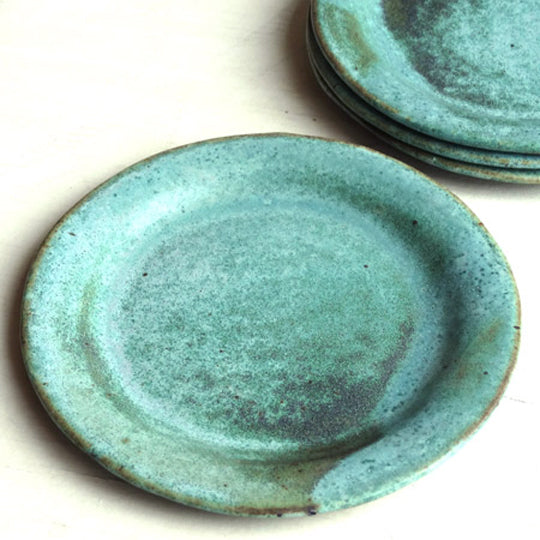 Cocktail Plate in Green Matte Glaze