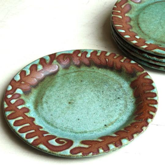Cocktail Plate in Green Matte with Fern Glaze