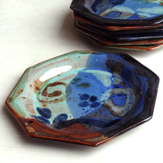 Cocktail Plate in Multi Glaze