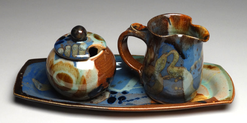 Cream and Sugar Set in Multi Glaze