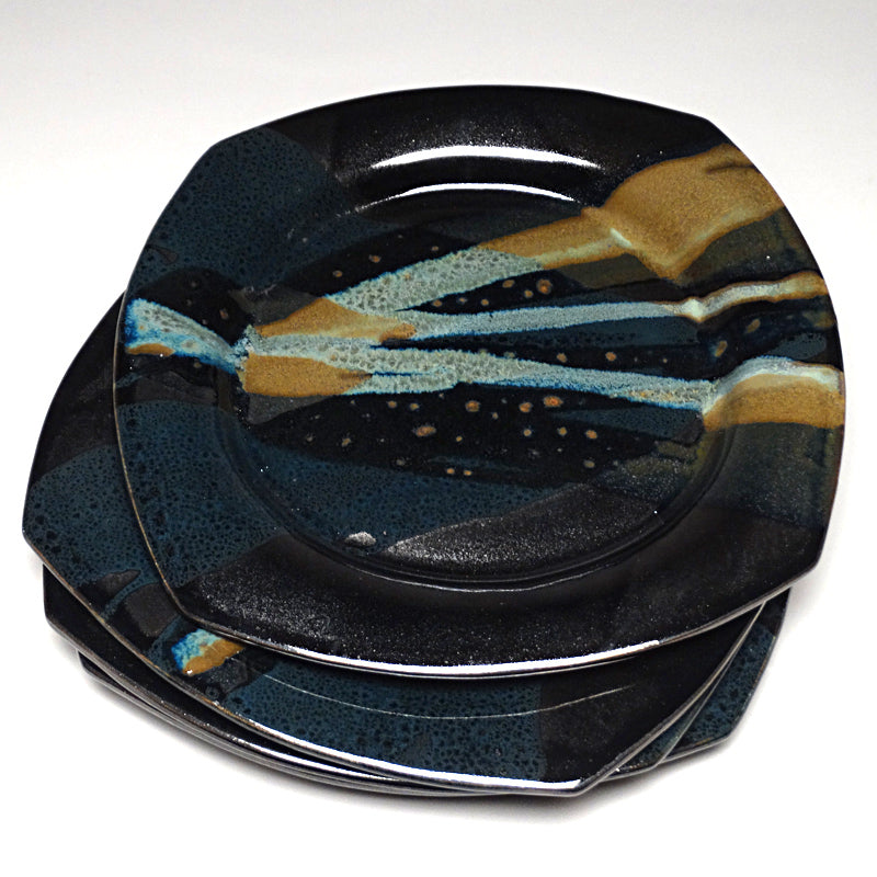 Dinner Plate in Black and Teal