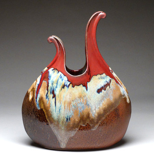 Flame Vase in Autumn Glaze
