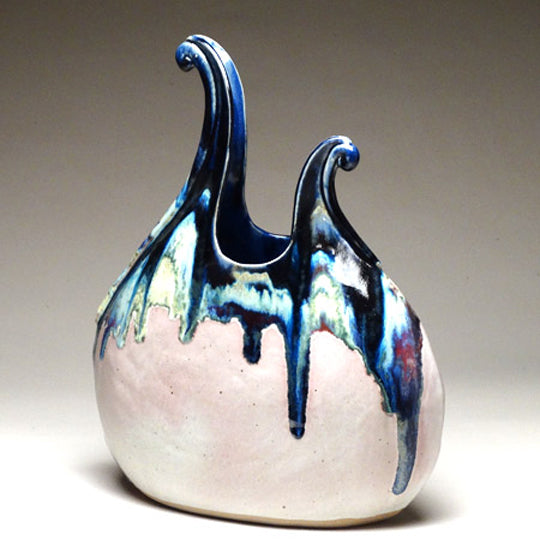 Flame Vase in Sapphire Glaze