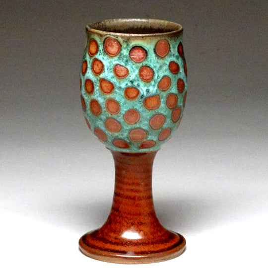 Goblet in Green Dotted Glaze