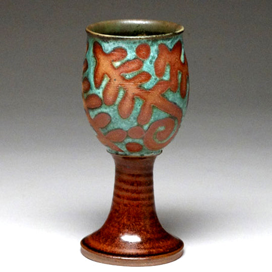 Goblet in Green with Ferns