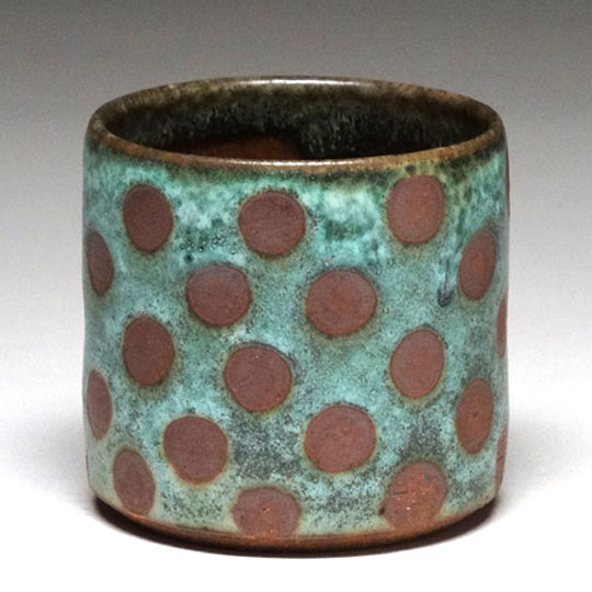 Highball Cup in Green Matte with Dot Glaze