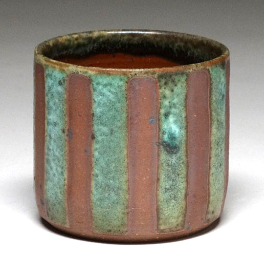 Highball Cup in Green Matte with Stripe Glaze