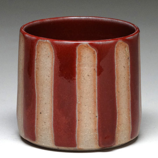 Highball Cup in Copper Red with Stripe Glaze