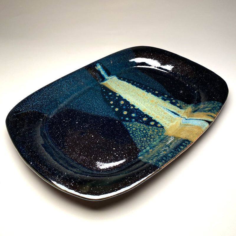 Large Serving Platter in Black and Teal