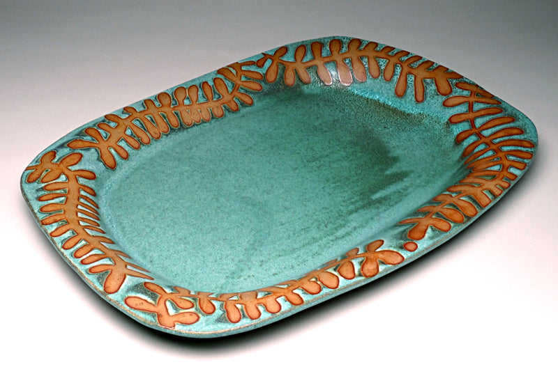 Large Serving Platter in Green Matte with Fern Glaze