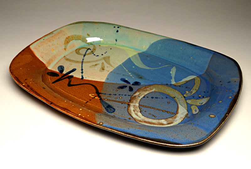 Large Serving Platter in Multi Glaze