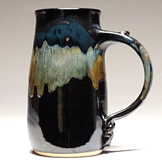 Large Mug in Black and Teal Glaze