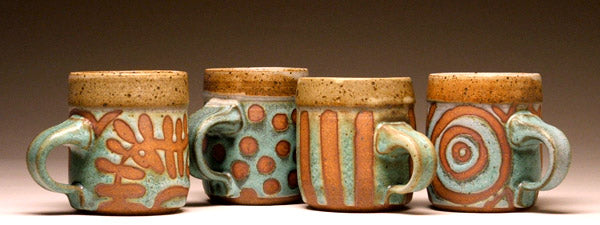 Smaller Mugs in Green Fern, Green Dot, Green Stripe, and Green Bullseye Glaze