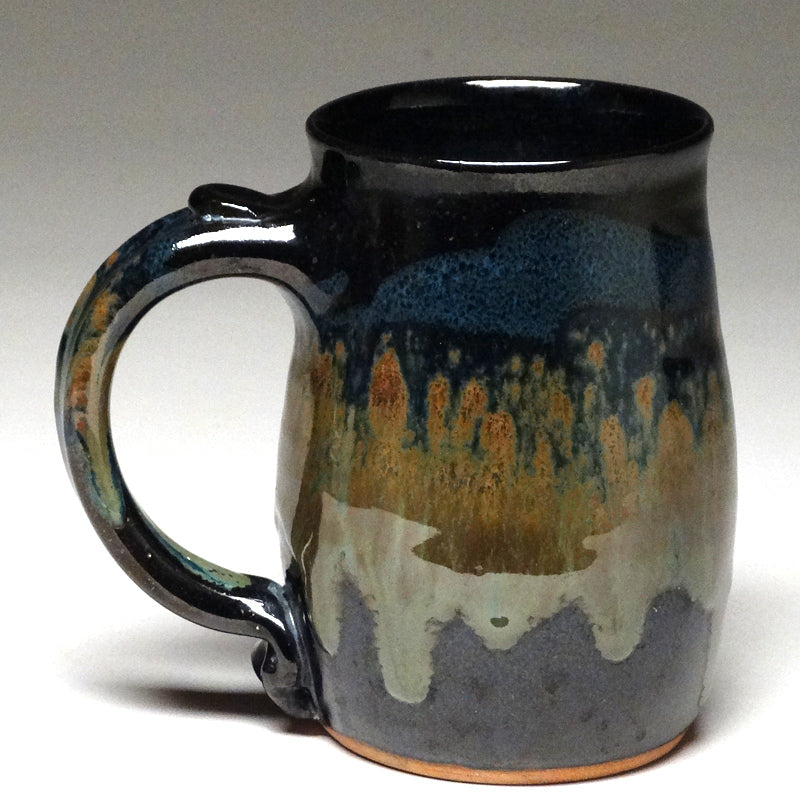Pint Mug in Black and Teal Glaze