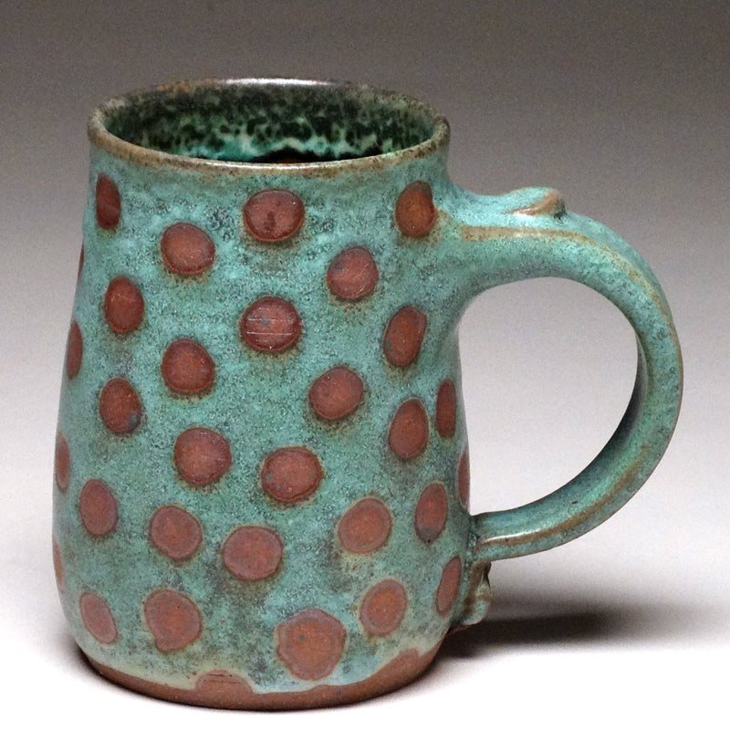 Pint Mug in Green with Dot Glaze