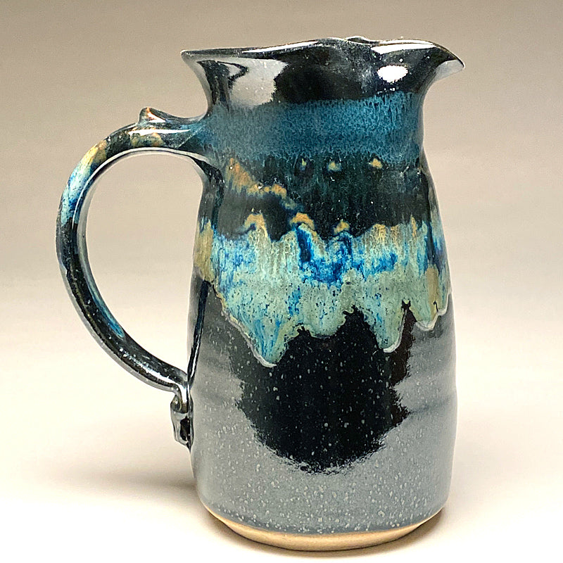 Wheelthrown Pitcher in Black and Teal