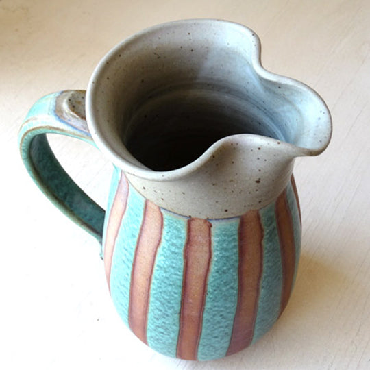 Wheelthrown Pitcher in Green Stripe Glaze