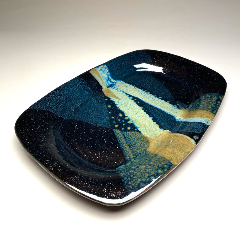 Medium Serving Platter in Black and Teal