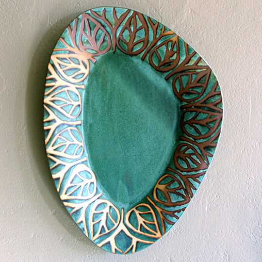 Huge Triangular Oval Platter in Green Matte with Leaf Glaze