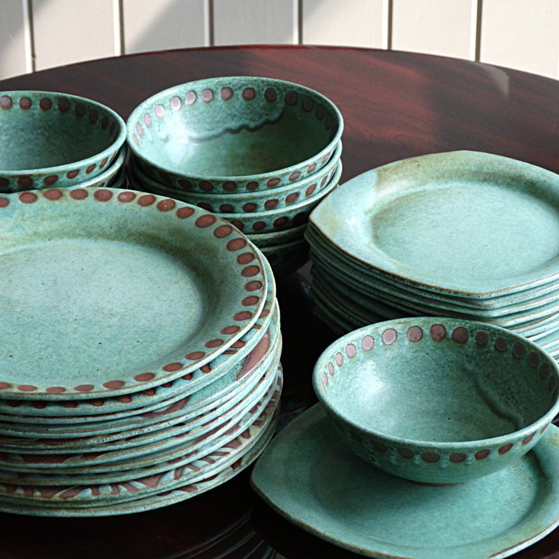 Black And Teal Dinnerware Mangum Pottery