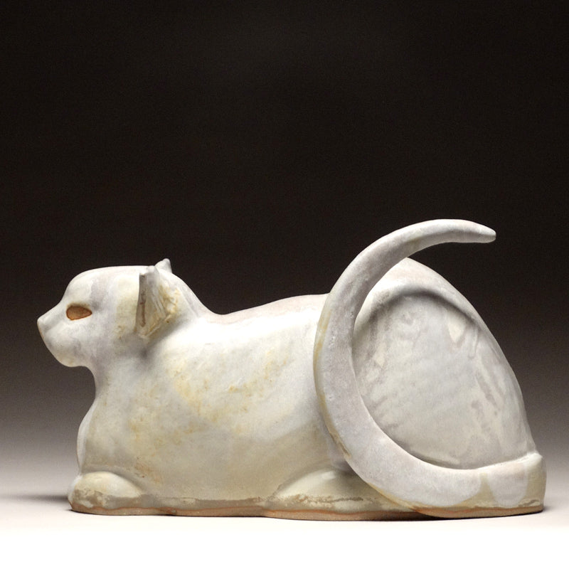Crouching Cat in Sand Glaze