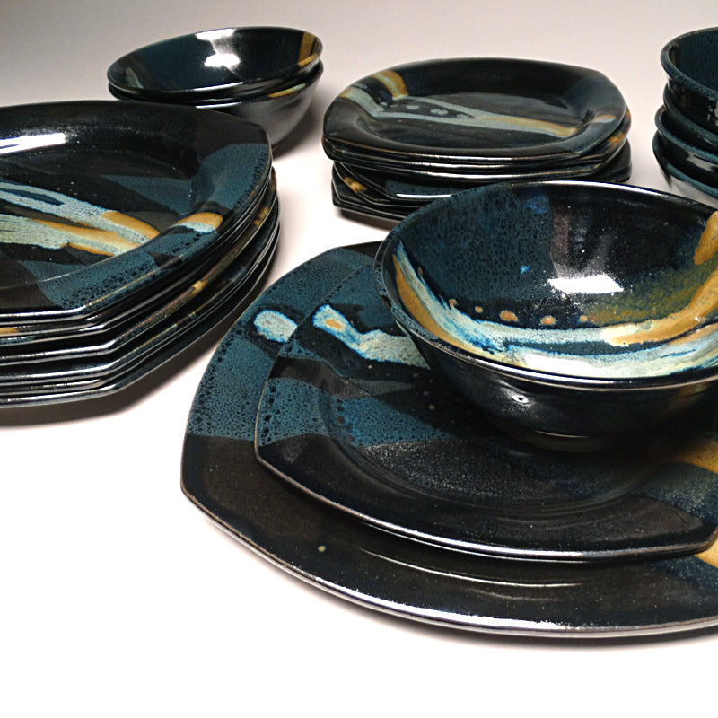 Dinnerware Set in Black and Teal