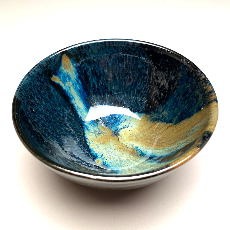 Small Bowl in Black and Teal