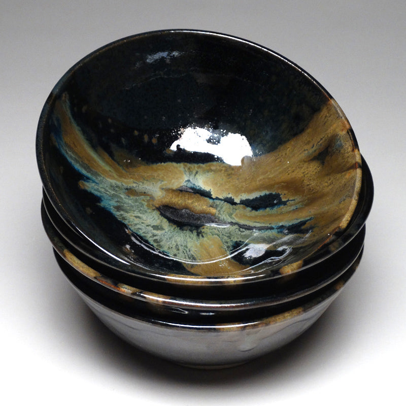 Soup Bowl in Black and Teal Glaze