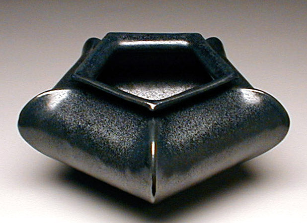 Star Vase in Turkey Knob Black Glaze