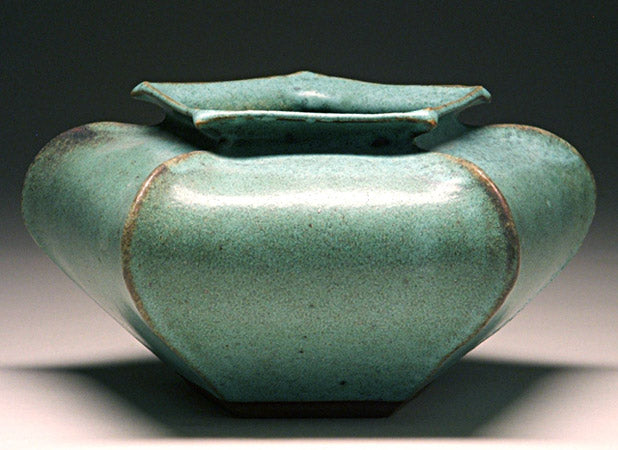 Star Vase in Green Matte Glaze