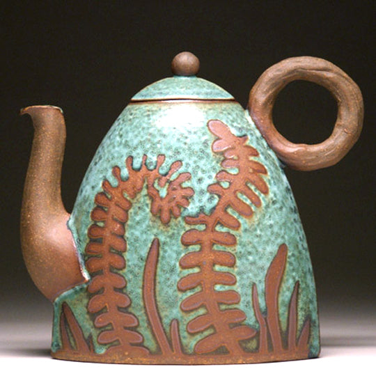 Slab Built Teapot in Green Fern Glaze