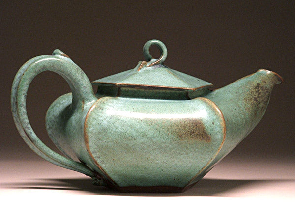 Star Teapot in Green Matte Glaze