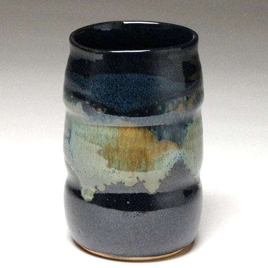 Tumbler in Black and Teal Glaze