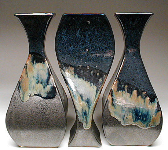 Tryptich Vase Grouping in Black and Teal Glaze