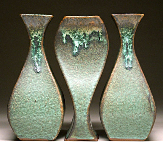 Tryptich Vase Grouping in Green Matte Glaze