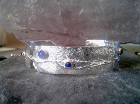 Blue Onyx and Lapis 3 Piece Bracelet