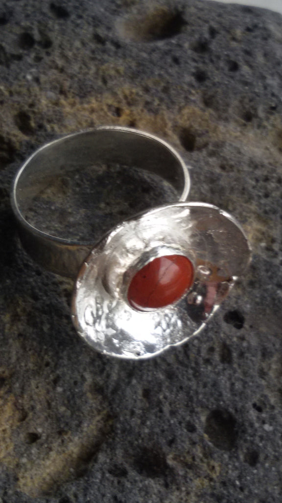 1381 Heavenly Bodies Red Jasper Cup Ring