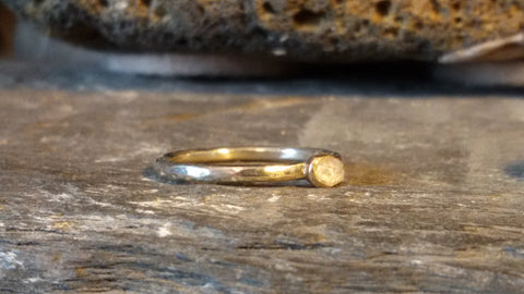 1428 White And Yellow Gold Hammered Halo Ring With Rough Diamond