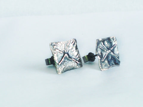 Antiqued Silver Square Melt Studs