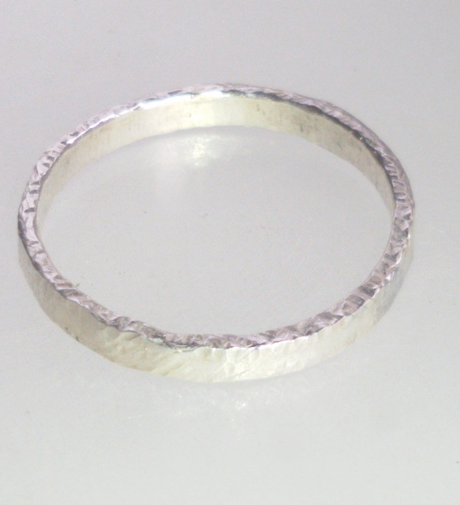 Handmade Silver textured stacking ring