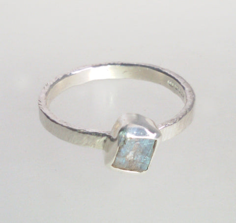 Rock Face Square Labradorite Ring size N