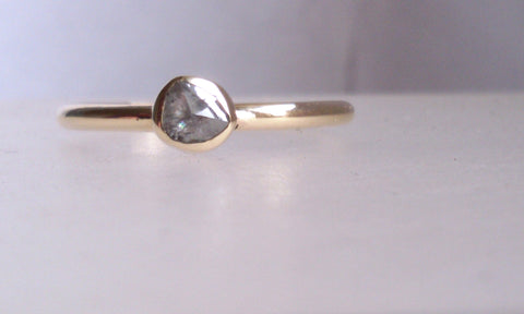 Rough Diamond And Yellow Gold Ring Size O