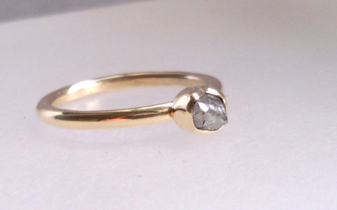1607 Yellow Gold and Rough Diamond Ring Size K
