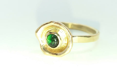 Gold Waterflower Ring With Chrome Diopside