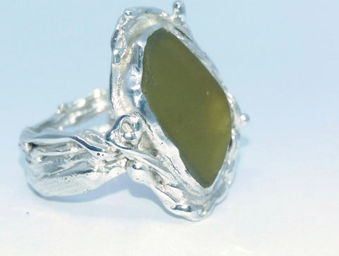 1696 Seafoam Tangle Weed Ring